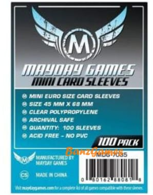 Протекторы Mayday Mini Euro Card Sleeves - 45 x 68 мм  (100 шт)